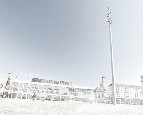 Dresdner Kulturpalast mit LIchtmast Blick vom Altmakt