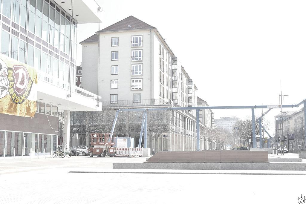 Dresden Wilsfruffer Straße Höhe Kulturpalast, Blick Richtung Pirnaischer Platz