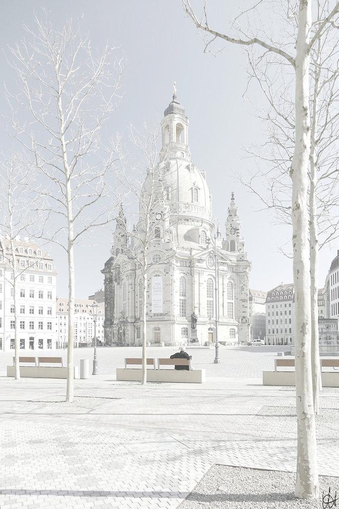 Neumarkt Dresden mit Blick zur Frauenkirche, ein Mann auf einer Bank, im Vordergrund noch kahle Bäume